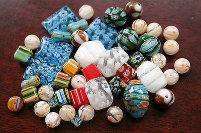 50 Grams Millefiori Glass Beads ~ All Mixed Shapes, Colours & Sizes