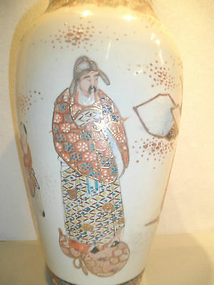 """UNUSUAL LARGE SATSUMA VASE 12"""" HIGH WELL DECORATED WITH VARIOUS CHARACTERS"""