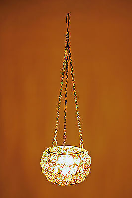Crystal Tea light  Candle Holder & Globe Beaded Hanging Candle Holders For Gifts