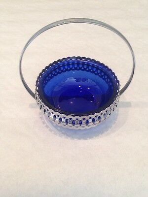 Vintage Silver Plate Bowl And Blue Glass Retro 1950s1960s