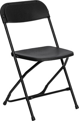 (50 Pack) 800 Lbs Capacity Stackable Plastic Folding Chairs Black Color