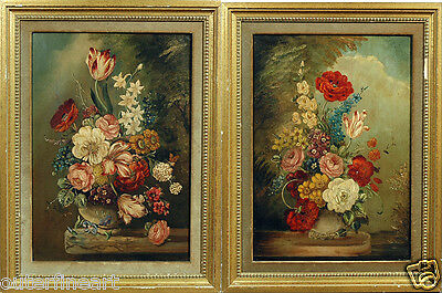 Decorative Pair of European 18th Century Floral Decorative Oil Paintings