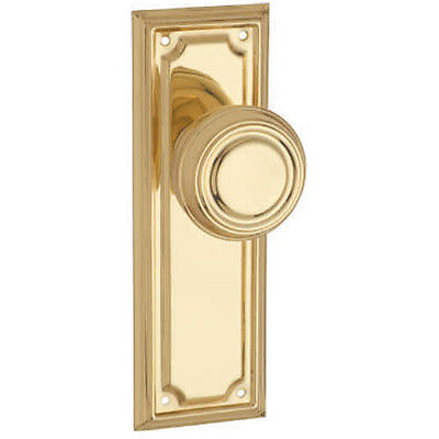 Edwardian Passage Door Handle-Polished Brass-185x60mm-Pair- DFTH1056