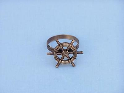 """NR-33-C Handcrafted Model Ships Antique Copper Ship Wheel Napkin Ring 2"""""""