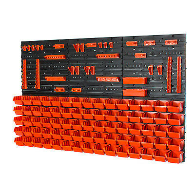 Set of 75 XS size IN-Box storage bins, tool hangers and wall mounted louvre