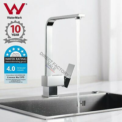 WELS Watermark Square Chrome Brass Kitchen Sink Laundry Swivel Mixer Tap Faucet