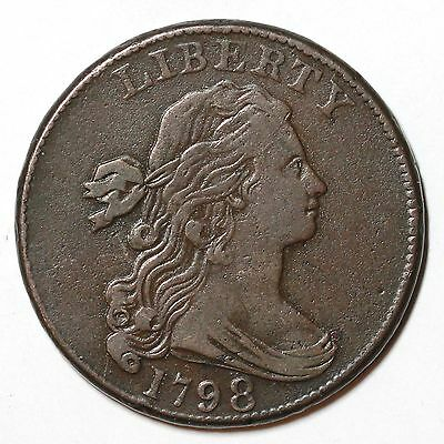1798 S-165 R-4 Draped Bust Large Cent Coin 1c