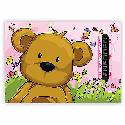 A5 Nursery, Baby and Childrens Pink Teddy Bear Room Thermometer