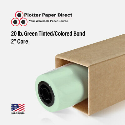 "36"" x 150' 20lb Green Colored Bond Plotter Paper for Wide Format Inkjet Printers"