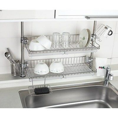 Stainless 2 Layers Premium One Touch Multi Sink Rack Shelf Series for Kitchen