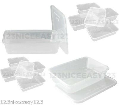 FOOD STORAGE BOXES (650ml) Containers and Lids Plastic Takeaway Tubs Microwave