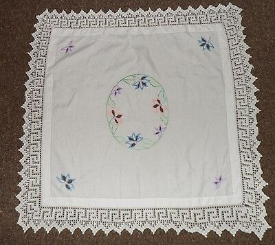 "VINTAGE linen table cloth embroidered floral hand crochet 43 x 41"" 109 x 104 cm"