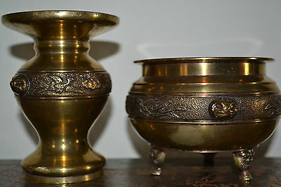 Vintage mid 20th century Japanese Brass Koro and Vase,matched pair, c 1950