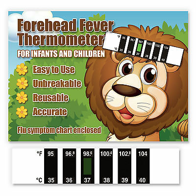 Brave as a Lion Baby Forehead Fever Thermometer w/ Cold & Fever Info - CE Marked