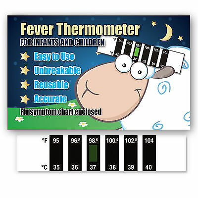 Cute Sheep Baby Forehead Fever Thermometer w/ Cold & Fever Info - CE Kitemarked