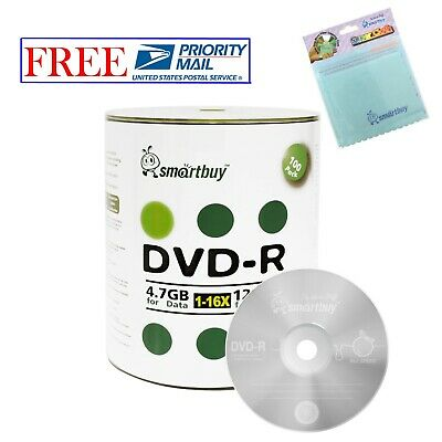100 Smartbuy DVD-R 16X 4.7GB Logo Top Blank Media Disc + FREE Micro Fiber Cloth