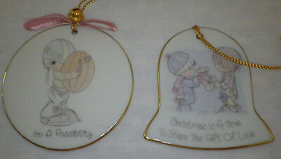 Lot of 2 Precious Moments Christmas Ornaments Possibility Time Share Gift Love
