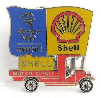Shell Fuel Red Ute Car Spinning Sydney Olympic Games 2000 Pin Badge Collect #261