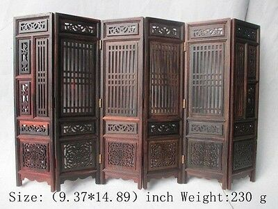 Hand carved Chinese collection of hongshan chicken wings wood folding screen