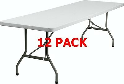 (12 PACK) 30''W x 96''L Plastic Folding Table - Commercial Quality Banquet Table