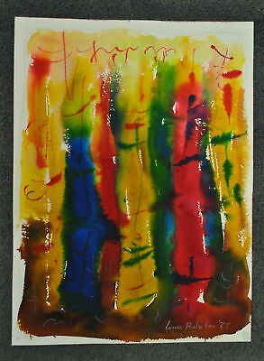 Louis G. Redstone Original Signed Abstract Watercolor Painting Unframed (1985)