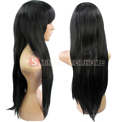 Fashion Women Girl Black Long Straight Hair Bung Full Wig Cosplay Party New