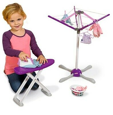 Wash Day Set Casdon Dry Iron Board Washing Rotary Clothes Airer Pegs Hangers Toy