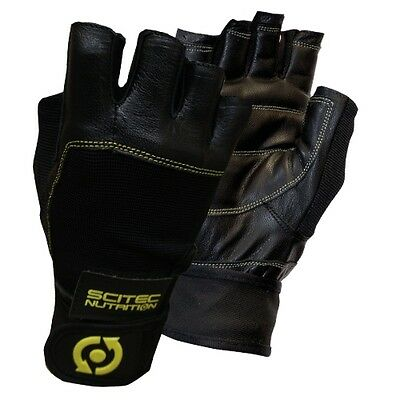 SciTec Nutrition WeightLifting Gloves Yellow Leather Style Wrist Wrap CFT