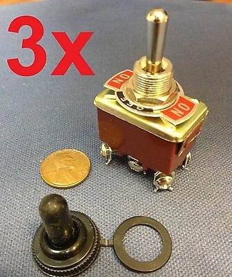 3 Pieces RED Waterproof boot cap DPDT momentary Toggle switch 3x ON/OFF/ON amp