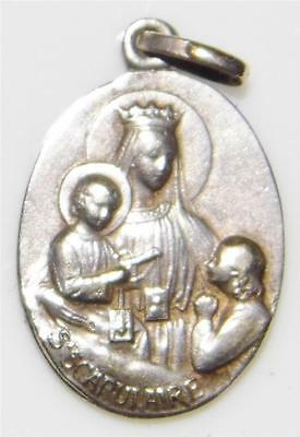 Rare Art Nouveau Holy Scapular Medal Our Lady & Children & Sacred Heart of Jesus