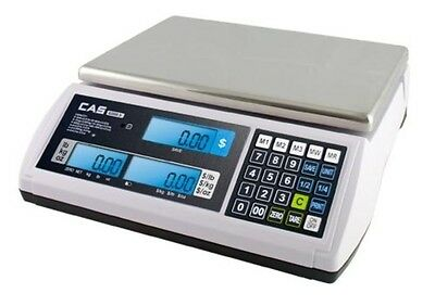 CAS S-2000 JR 15lb PRICE COMPUTING SCALE - LEGAL FOR TRADE LCD DISPLAY -PORTABLE