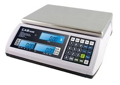 CAS S-2000 JR 60lb PRICE COMPUTING SCALE LCD DISPLAY - NTEP - DELI, MEAT, CANDY