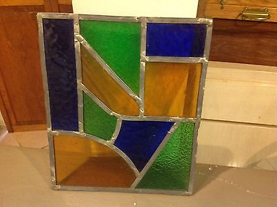 Antique Authentic stained glass window pane Vintage From A Door