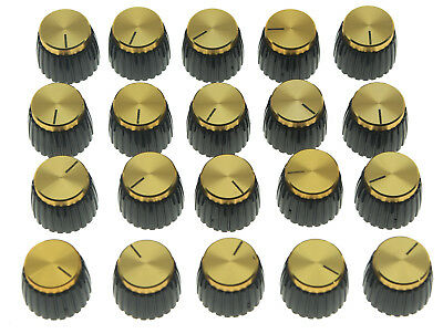 Pack of 20 Guitar Amplifier Knobs Black Gold Cap Push On Knob fits Marshall AMP