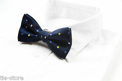 Mens Navy With Coloured Polka Dot Pattern Bow Tie Pre-Tied Bowtie Wedding Formal