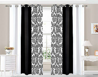 Eyelet curtains Ring Top Fully Lined Pair Ready made DAMASK 3 TONE BLACK WHITE