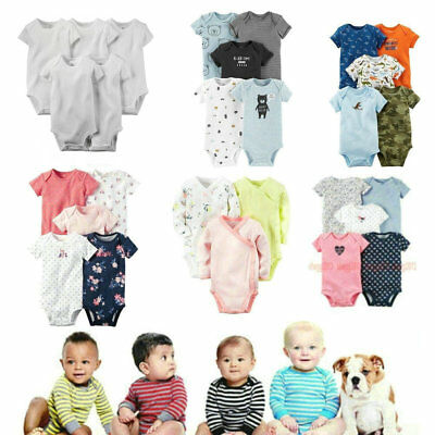 New 3 4 5-Pack Baby Boy's & Girl's  Bebe 100% Cotton Bodysuits Clothing Set