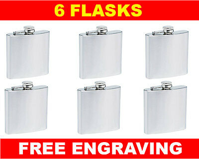 6 Personalized Flasks 6oz Groomsmen Best Man Brides Maids gifts free engraving