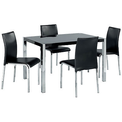 High Gloss Finish Dining Table and Chair Set with 4 Leather Seats | Black White