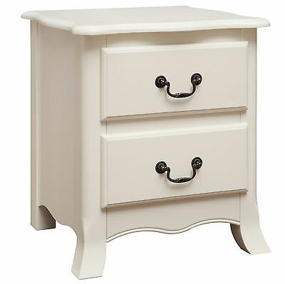 Antique White Finish Bedside Cabinet Bedroom End Lamp Table 2 Drawer Chest