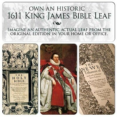 "1611 First Ed KING JAMES BIBLE ""Great He"" FOLIO Old Testament Leaf OUR SELECTION"