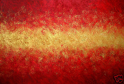 GOLD Red Abstract Original TEXTURE Art Painting 36 x 24