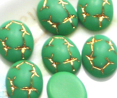 Vintage Cabochons Pressed Glass Green Oval 10x8mm Etched Gold Art Deco NOS #1190