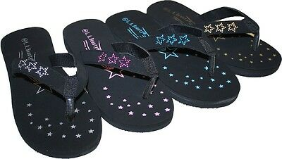 Women's Flip Flops With Stars and Decorated Straps Soft Lite Valvet Brand New