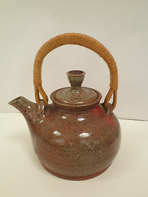 Signed Bill Cole Australian Pottery Teapot With Cane Handle