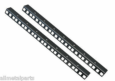 8U RACK STRIPS Black sold in pairs 24mm x 19mm 1.2mm made by Allmetalparts