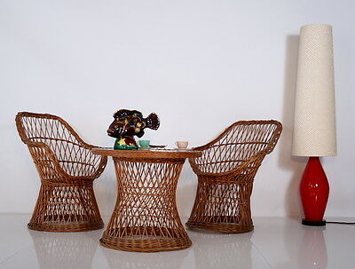 60s SET of 2 CHAIRS + table basketwork a 60 2 fauteuils clisse sessel poltrona