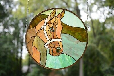 """20"""" Round Horse Head  Handcrafted Stained Glass Suncatcher Panel"""
