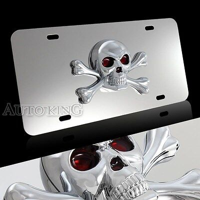 US Size Stainless Steel License Plate Frame with 3D ABS Skull And Crossbones