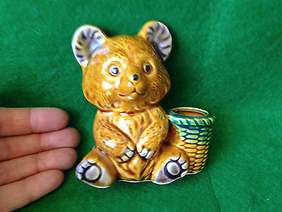 ceramic teddy bear toothpick or matches holder with basket MADE IN JAPAN
